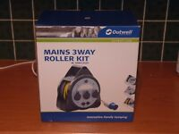 Brand New - Outwell mains 3 way roller kit with 2 usb sockets and light - boxed