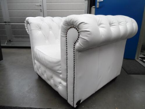 ≥ chesterfield outlet koopje vintage fauteuil wit leer