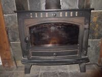 Hunter Herald 14 multifuel stove with back burner and pump, good condition only eight years old