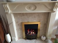 Living flame fire and surround - Ivory wood and neutral marble inset and hearth good condition