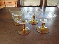 4 x Amber-Stemmed Glasses