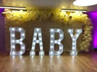 BABY SHOWER DECOR, BABY LIGHT UP LETTERS, BABY CAKE TABLE, BABY FLOWER WALL, CHAIR HIRE, BABY BLOCK