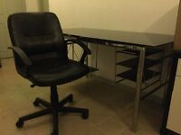 Black glass Desk with Chrome Legs and Chair