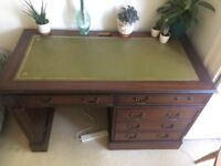 Solid Wood Antique Desk with Leather Top