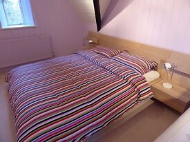 King bed, mattress & side tables - AS NEW