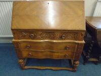 light wood vintage hand carved writing bureau