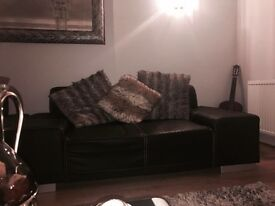 Leather Sofa Set in black colour (3+2+1 seat)