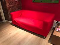 2 Seater Red Fabric Sofa