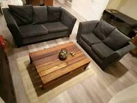3 seater and 2 seater charcoal grey sofa