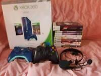 Xbox 360 console blue plus games