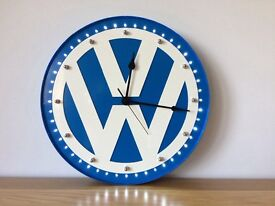 VW Metal Clock finished in Blue & White with white LED lights static setting 40cm Diameter