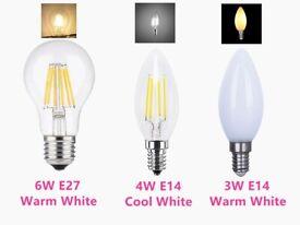 New LED Filament Lamp 6W E27 ES Bulb Light / 3W 4W E14 SES Candle Light Household Lamps GLS