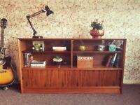 Mid century teak Gibbs long bookcase shelving storage glass cabinet G Plan era