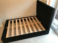 Black Double Crushed Velvet Upholstered Bed - AS NEW *****REDUCED*****