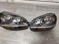 Black VW Golf MK5 Headlights 04-09 With LED bulbs (Nearly New) FSI, GTI, TDI all models