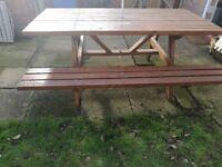 Wooden garden table whit bench