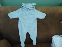 All-In-One New Born Blue Fleece suit