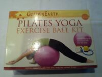 """Pilates Yoga excersise ball kit and pair of """"Everlast"""" 5lbs ankle/wrist weights."""
