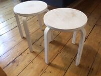 3 x IKEA Frosta Stools painted white with Annie Sloan chalk paint