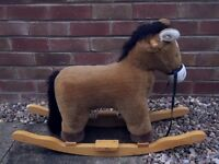 AURORA Soft Plush Fabric Wooden Rocking Horse - Makes Sounds Galloping/Neighing