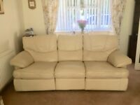 Cream 3 Seater Leather reclining Sofa