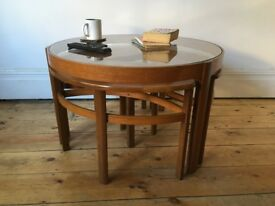 Vintage Mid Century Nathan Trio Teak & Glass Coffee Table with Nest