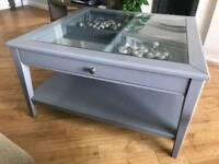 Glass topped grey coffee table with drawer