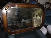 Elegant Antique Large Octagon Shaped Oak Frame Bevelled Mirror W/Decorative Accents