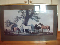 PRINT,PICTURE: large horses/rural scene-glazed,heavy,board-backed,gold coloured,metal frame.£25 ovno