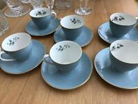 Royal doulton rose elegans coffee expresso cups and saucers x6