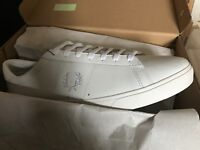 Men's white Fred perry trainers . New in box . Size 9.5