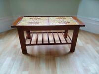 Vintage 1970's extending tiled coffee table in teak