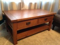 Wood coffee table and matching TV cabinet / sideboard