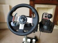 Logitech G27 with Wheelstand pro - great racing game set-up, ready for use