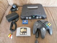Nintendo N64 with 2 games, Zelda and ISS pro soccer.