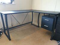 Black L-shaped computer desk