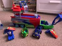 Pj masks truck with vehicles and characters