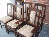 TRADITIONAL SOLID WOOD TABLE AND 6 CHAIRS