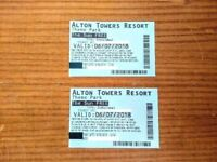 Alton Towers tickets x 2 for next Friday 6th July 2018 - £12 for both