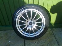 ALLOYS X 4 OF 17 INCH FOX MULTISPOKE 5 STUD BRAND NEW IN SILVER WITH TYRES VERY NICE ALLOYS