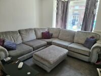 6 seater crushed velvet corner sofa with pouff and 6 pillows
