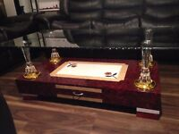 Brand New High Gloss Coffee Table with Wooden Base and Clear Glass top, High Quality Dark Red