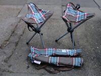 Eurohike Cath Kidston Limited Edition Tripod Folding Camping Chairs Stools x 2