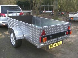 UNIQUE 7-2 X 4-2 GOODS TRAILER STAINLESS STEEL CHASSIS / ALLOY CHQ PLATE SIDES ETC....
