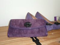 """Clarks"" ladies purple jewelled shoes and matching handbag"