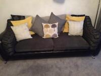 Black leather and fabric 4 seater sofa and chair