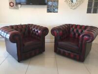 STUNNING PAIR OF OXBLOOD CHESTERFIELD CLUB CHAIRS