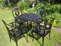 GARDEN / PATIO SET --- CAST ALUMINIUM TABLE AND 4 CHAIRS --- BLACK