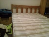 Pine double bed with matress. Dreams (Columbia)