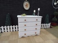 SOLID PINE TALL CHEST OF DRAWERS WITH 4 LARGE DRAWERS PAINTED WITH LAURA ASHLEY PALE DOVE GREY